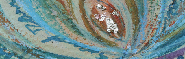 Mandala art close up with mixed media including gold leaf by Linda Wiggen Kraft, rain series