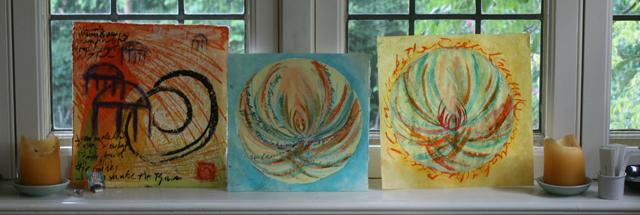 mandala art rain series by linda wiggen kraft in meditaiton room