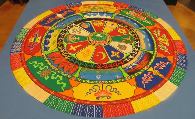 completed sand mandala for peace by Tibetan Monks in St. Louis
