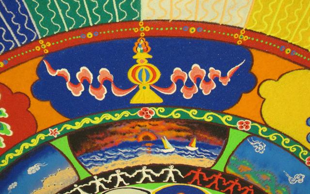 Tibetan sand mandala detail Treasure Vase Auspicious symbol photo by Linda Wiggen Kraft