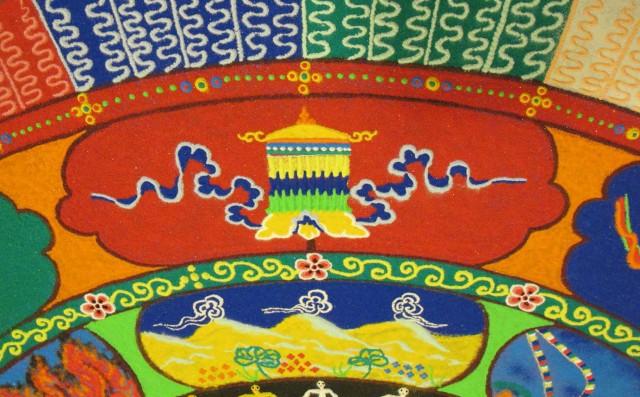 Tibetan sand mandala Victory Banner Auspicious Symbol, Summer Season, photo by Linda Wiggen Kraft
