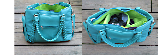 turquoise camera bag by epiphane with photographer linda wiggen kraft cameras