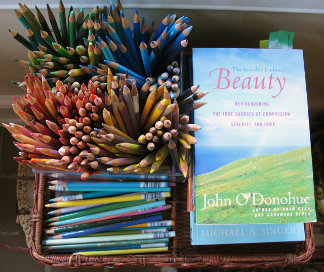 colored pencils with Beauty Book by John O'Donohue in linda wiggen kraft studio