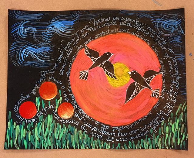 mandala-birds-red-ball-linda-massie-blog-creativity-for-the-soul-blog