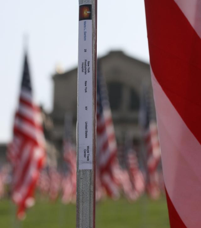 Saint Louis Art Museum nine eleven 2,996 flags with information about each victim